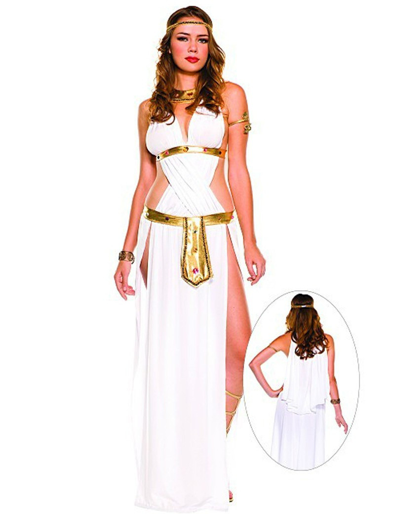 White Sexy Egyptian Queen Cleopatra Costume Women Halloween Cosplay Greek Goddess Costumes For Adults Long Dress On Aliexpresscom  Alibaba Group-4659