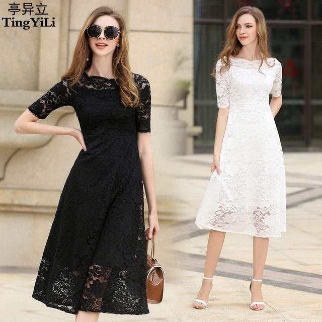 a576ad044 TingYiLi Off Shoulder Black White Lace Dress Party Elegant Ladies Summer  Dress Slim Office Dress Women