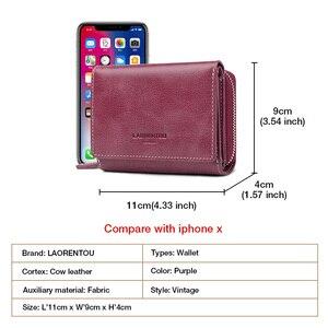 Image 4 - LAORENTOU billeteras de piel auténtica para mujer, tarjetero, pantalón corto informal, monedero de gran capacidad, monedero pequeño