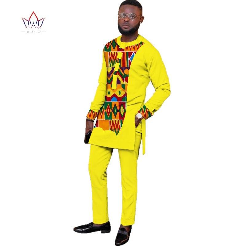 2019 натуральная Осенняя мужская африканская одежда больших размеров 6XL dashiki men 2 шт. плюс размер африканская мужская хлопковая одежда BRW WYN427