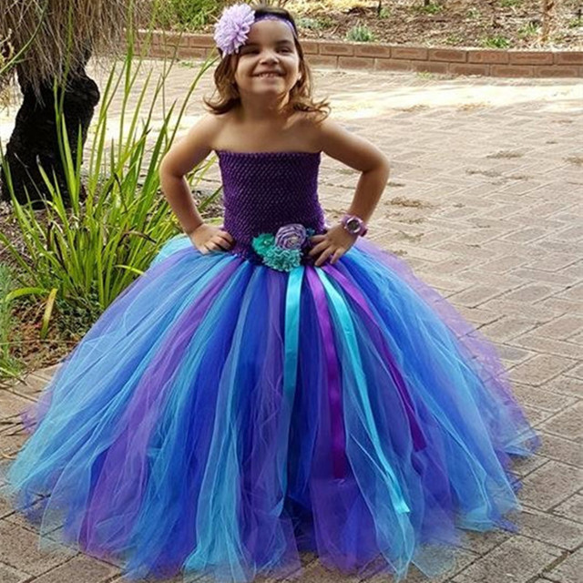 b918288cbfd6 Purple Blue Peacock Tutu Dress For Girls Kids Performance Clothing Festival  Holiday Flower Girls Pageant Birthday Party Dresses