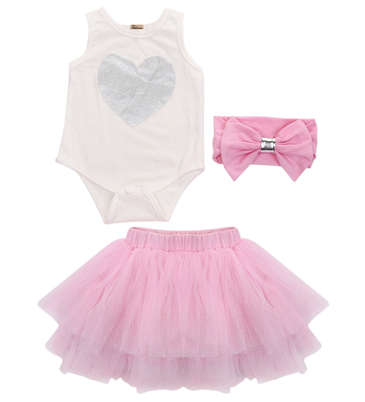 2017 Summer 3PCS Newborn Toddler Baby Girls Sleeveless Romper Top Pink Tutu Skirt Party Headband Clothes Set