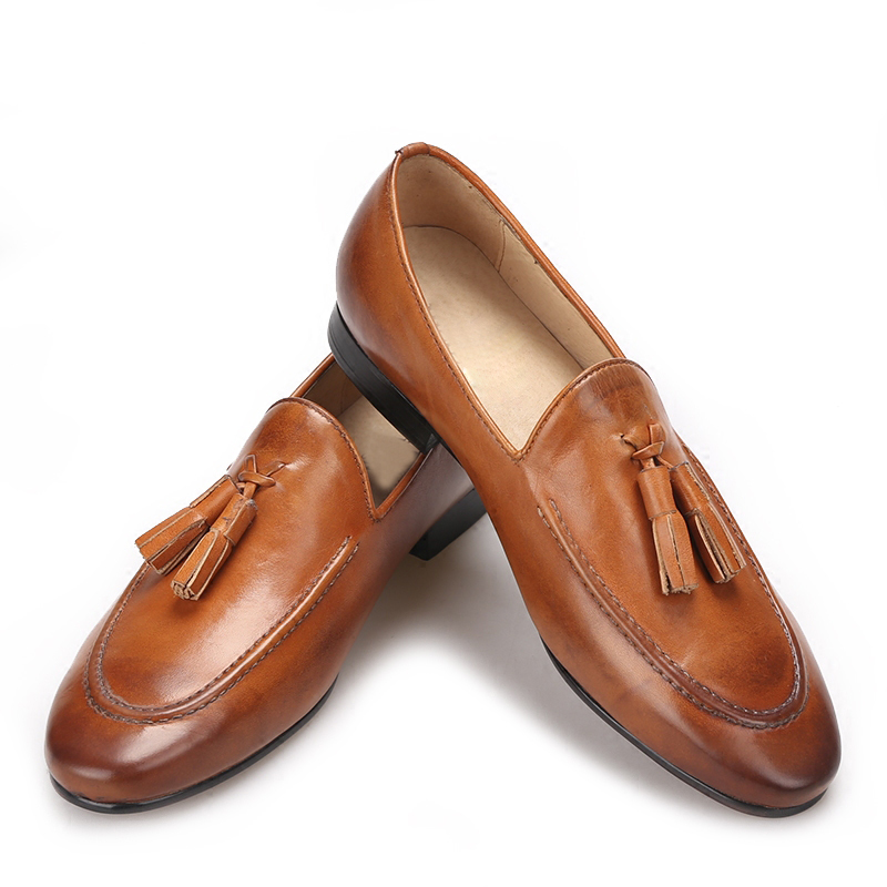 Brown color men made of genuine leather shoes with leather tassels men handmade smoking slippers wedding and party men shoes