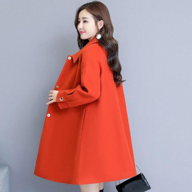 Woolen Coat Women Autumn Winter Cloak Style Long Wool Coat Plus Size Warm Parka Overcoat Blue Red Women Coat Abrigos Mujer C4839 5