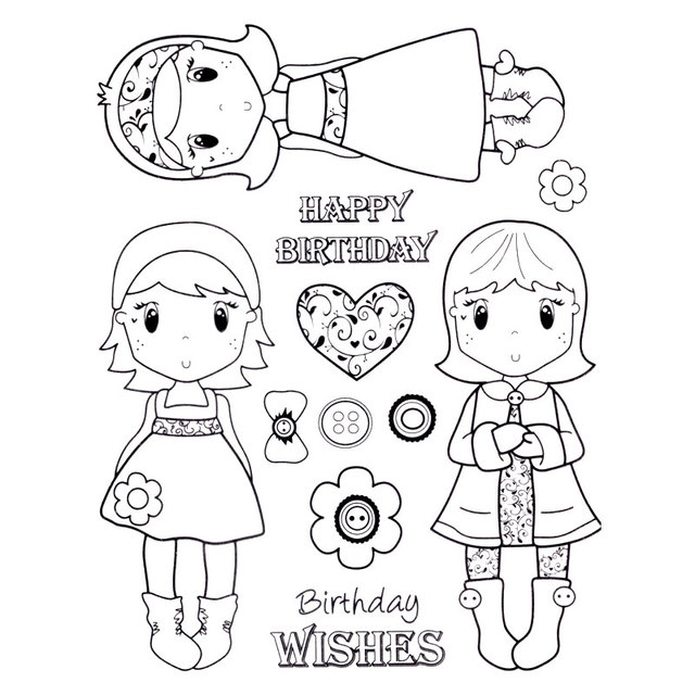 sweet girl happy birthday news scrapbook diy photo cards account rubber stamp clear stamp transparent stamp