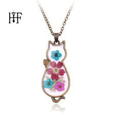 Vintage Fashion Cat Necklaces Resin Locket Dried Flower Plant Pendant Chain Necklace For Girls Gothic Christmas Gift(China)