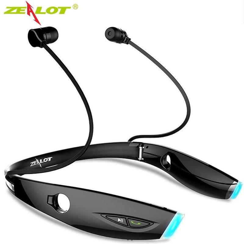 Heißer zealot h1 bluetooth headset sport nackenbügel drahtlose kopfhörer sweatproof faltbare mit mic für gym/übung
