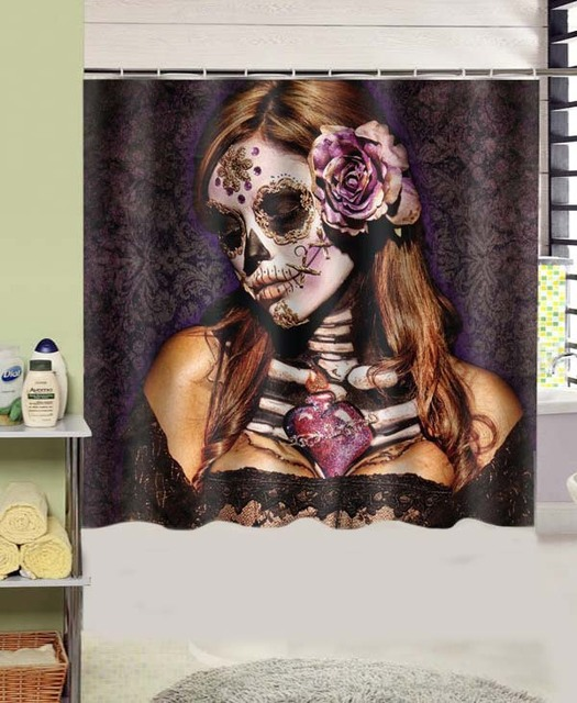 Day Of The Dead Skull Girl Sexy Design Polyester Fabric Shower Curtain 180x180 Cm Waterproof Mildewproof Curtains