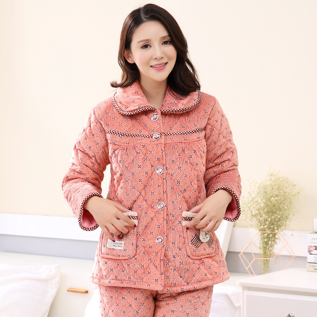 9719d3331c Russian Winter Overalls 3 layers Quilted Pajamas Women Princess Printing  Cation Thick Coral Velvet Quilted Tracksuit
