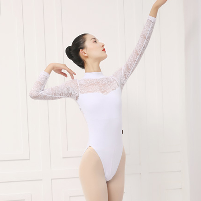 Ballet Leotards Women Lady Ballet Tights Sexy Lace Long Sleeve Yoga Ballet Costumes Practice Clothes Costumes Ballerina DN1831