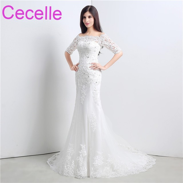 Mermaid Long Wedding Dresses 2019 With Half Sleeves Off the Shoulder Beaded  Lace Appliques Corset Back Bridal Gowns Real Photos f9138b7a5a7c