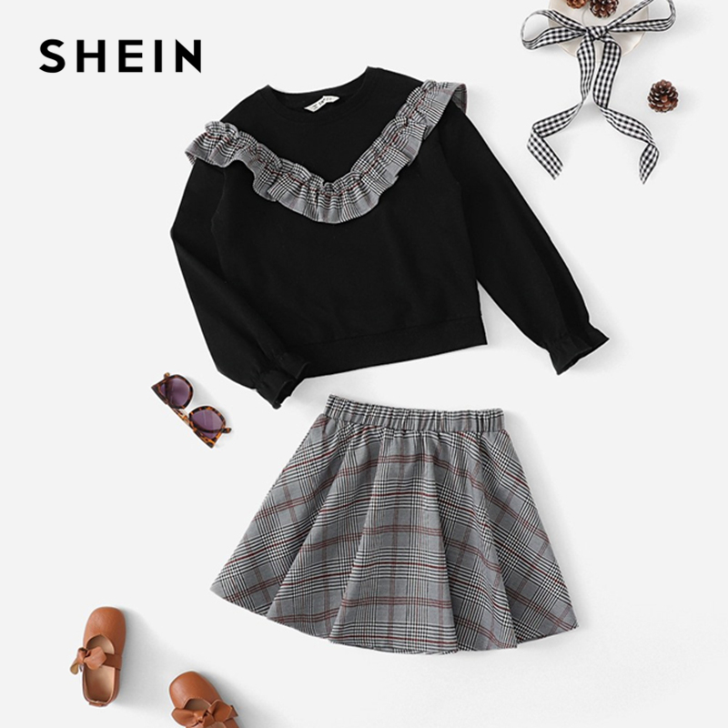 SHEIN Kiddie Plaid Ruffle Pullover And Skirt Two Piece Set Suit For Girls Clothes 2019 Spring Fashion Long Sleeve Kids Clothes split back plaid skirt