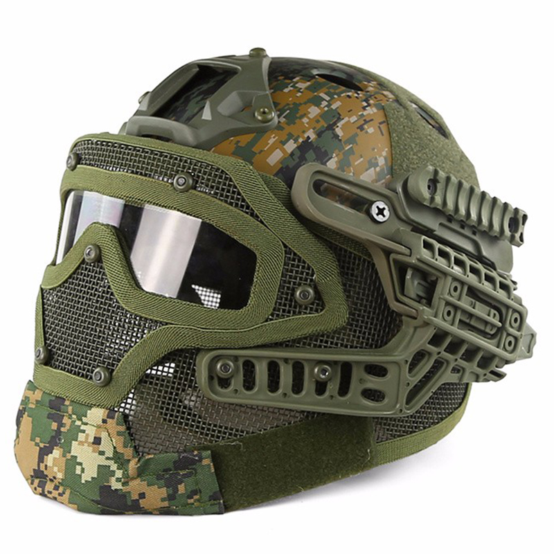 Tactical Helmet Bj Pj Mh Abs Mask With Goggles For
