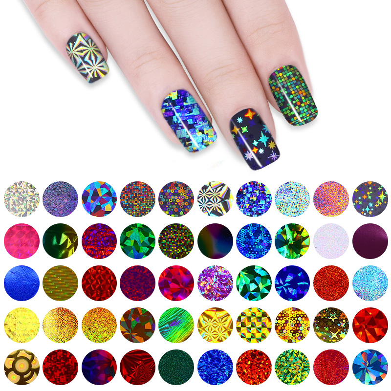 50Pcs Colorful Nail Starry Sky Foils Holographic Nail Art Glitter Transfer Stickers Manicure Decals Nail Tips Decoration 4*20cm 20pcs set starry sky nail foils nail art transfer stickers decal fashion broken glass diy nail tips decorations