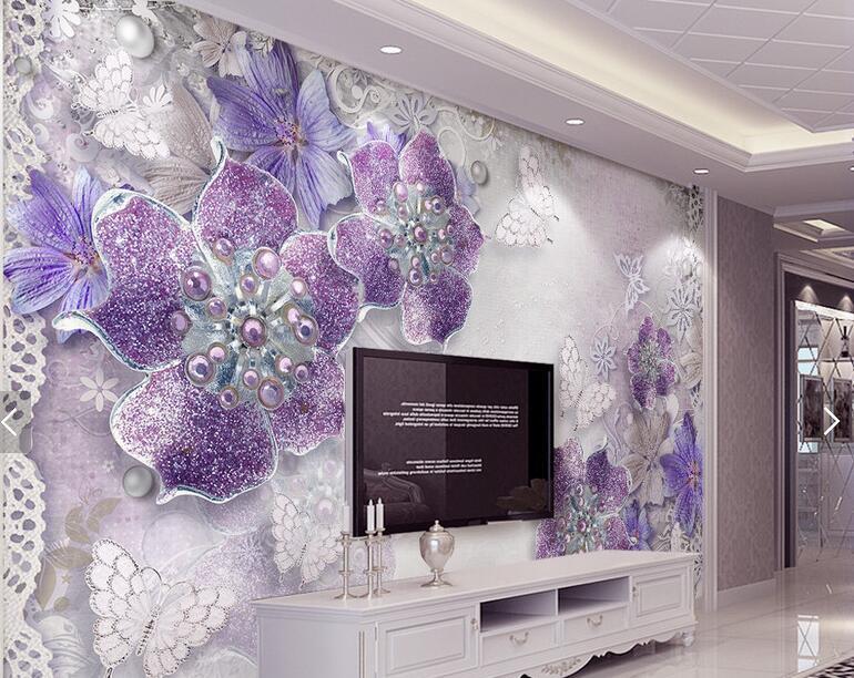 цена  Wall Panel Wallpaper Diamond Plum Rose Pattern Background Modern Europe Art Mural for Living Room Large Painting Home Decor  онлайн в 2017 году