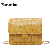 Alligator Leather Ladies Hand Bags Small Female Shoulder Fla