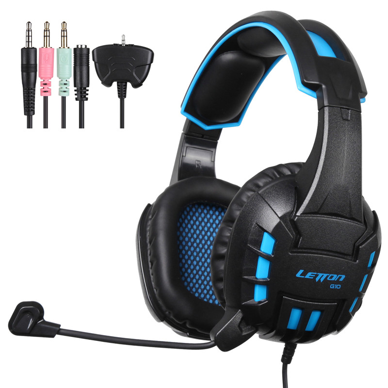 LETTON G10 3.5mm Stereo Gaming Headphone Headset with Mic for PlayStation4 PS4 Xbox 360 PC Mac iPhone Smart Phone Tablet Laptop