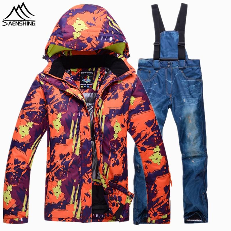 e88b3bfee9b87 Saenshing invierno muy cálido traje de esquí femenino impermeable  transpirable chaqueta de nieve + Denim Pant snowboard traje de esquí de  montaña mujeres