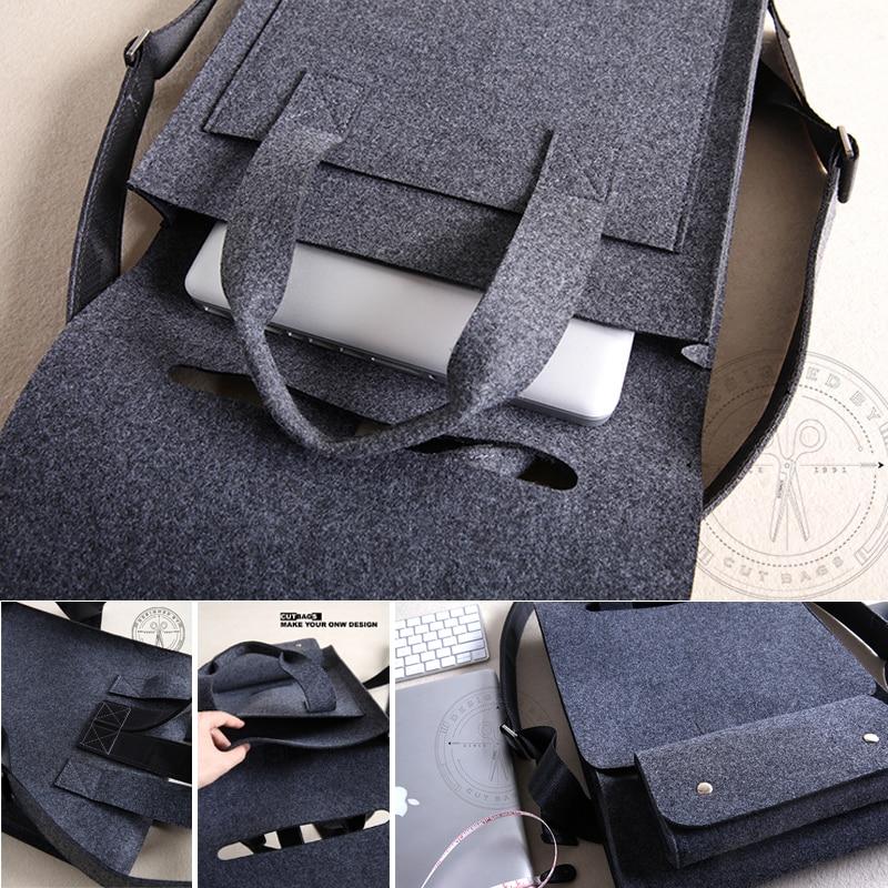 Купить с кэшбэком Wool Felt Laptop Backpack 14 15.6 Sleeve Notebook  Computer Bag Laptop Handbag Black Gray Bagpack For Macbook Lenovo Dell,et