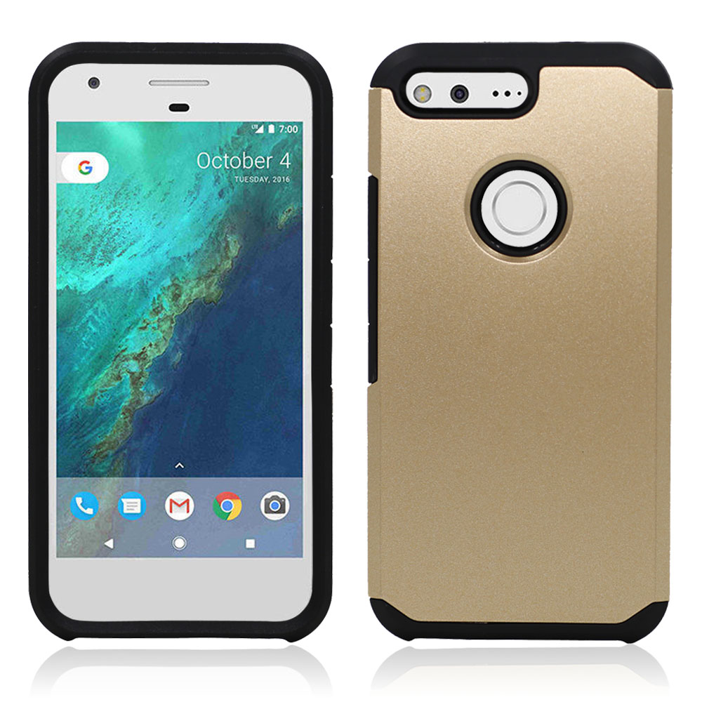 Dual Layer TPU+PC Hybrid Shockproof Slim Armor Case Hard Shockproof Silicone Cover For Google Pixel/Pixel XL With/Without Films