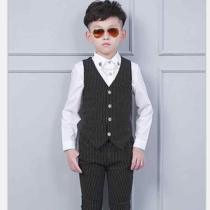 Модный костюм для мальчиков на свадьбу, вечерние костюмы на выпускной, размеры 24 мес.-10 лет, Детские облегающие костюмы, смокинг для мальчиков, деловой жилет, штаны, классический костюм в полоску