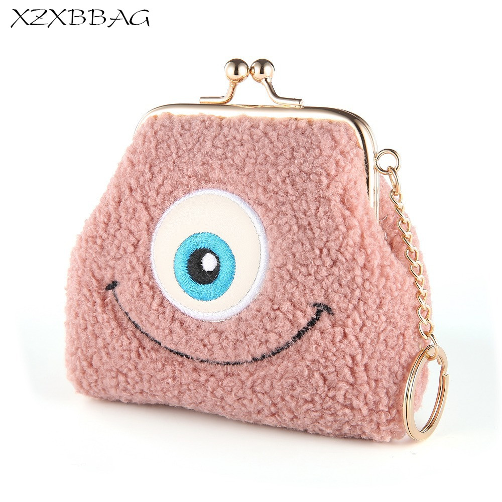 XZXBBAG Women Cute Big Eyes Mini Plush Coin Purses Female Hasp Small Wallet Girls Change Purse Money Bags Students Zero Wallet