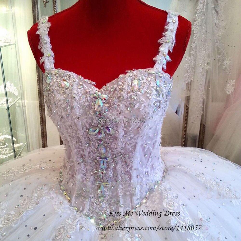 Vestidos de Noivas Real sample 2015 Wedding Dress Lace Ball Gown Bride Dresses Straps Crystals Floor Length Trajes de Noiva