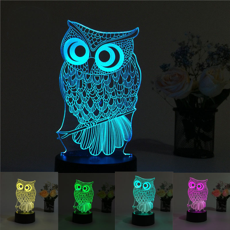 Adjustable USB Creative Owl 3D Night Light Lighting 7 Color Change LED Table Desk Lamp Xmas Fashion Veilleuse