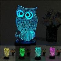 USB Creative Owl 3D Night Light Lighting Change LED Table Desk Lamp Xmas Fashion
