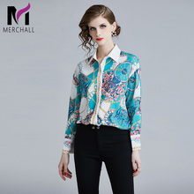 Merchall High Quality 2019 Runway Designer Floral print Shirt Women Fashion Long Sleeve Blouse Ladies Office Shirts Womens Tops