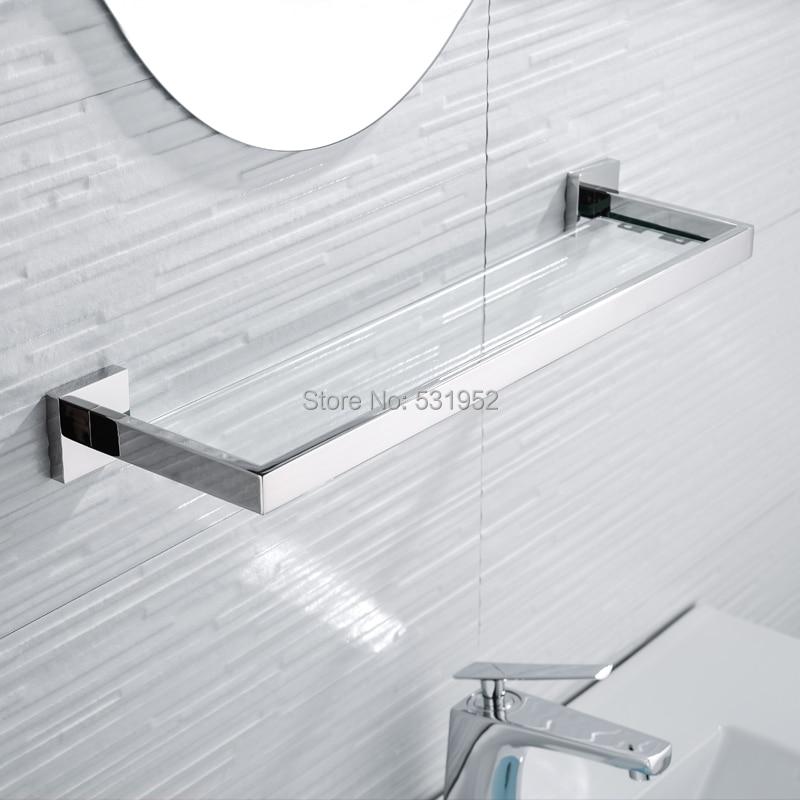SUS 304 Stainless Steel Bathroom Glass Shelf Wall Mount Glass Towel Rack Polished Storage Towel Hanger
