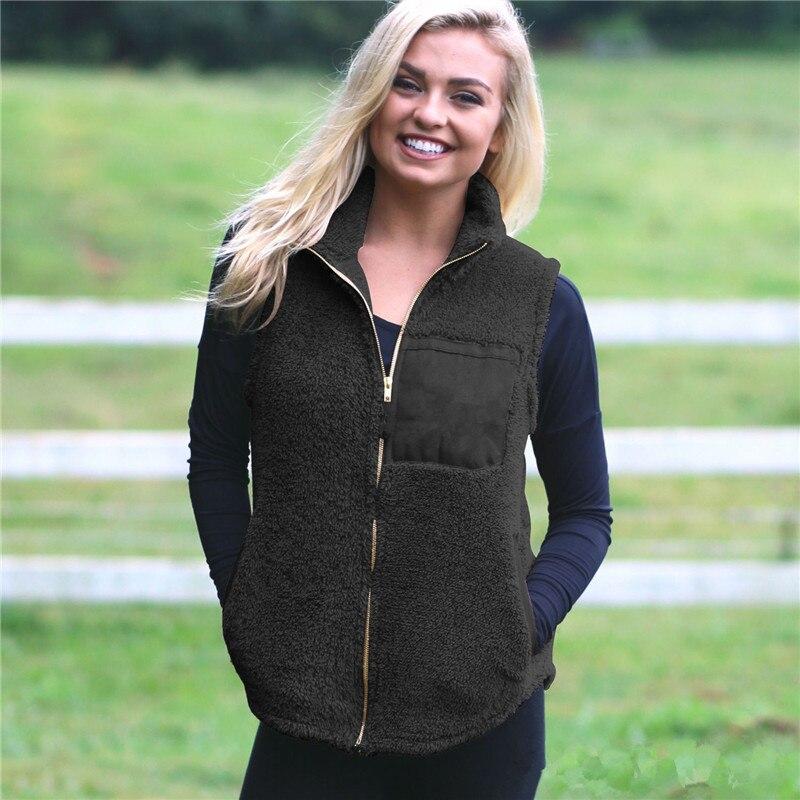 Fashion Casual Slim Solid Women's Fleece Fur Vest Jacket Outerwear Tops Autumn Winter Warm Fluffy Coat For Girls