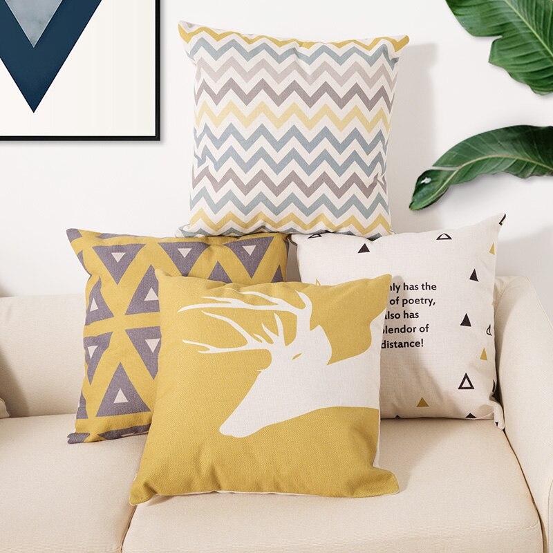 Cushion 45*45Two side printed Soft Cotton linen blend Cartoon stripes tropical plants European style Pastoral