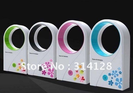 2012 new arrival delicate packing Hold USB mini no leaf air-condition / Bladeless ABS mix color  fan