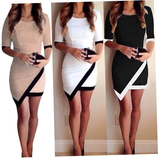 Women Short Summer Slim Dress Ladies Half Sleeve Sheath Asymmetrical ...