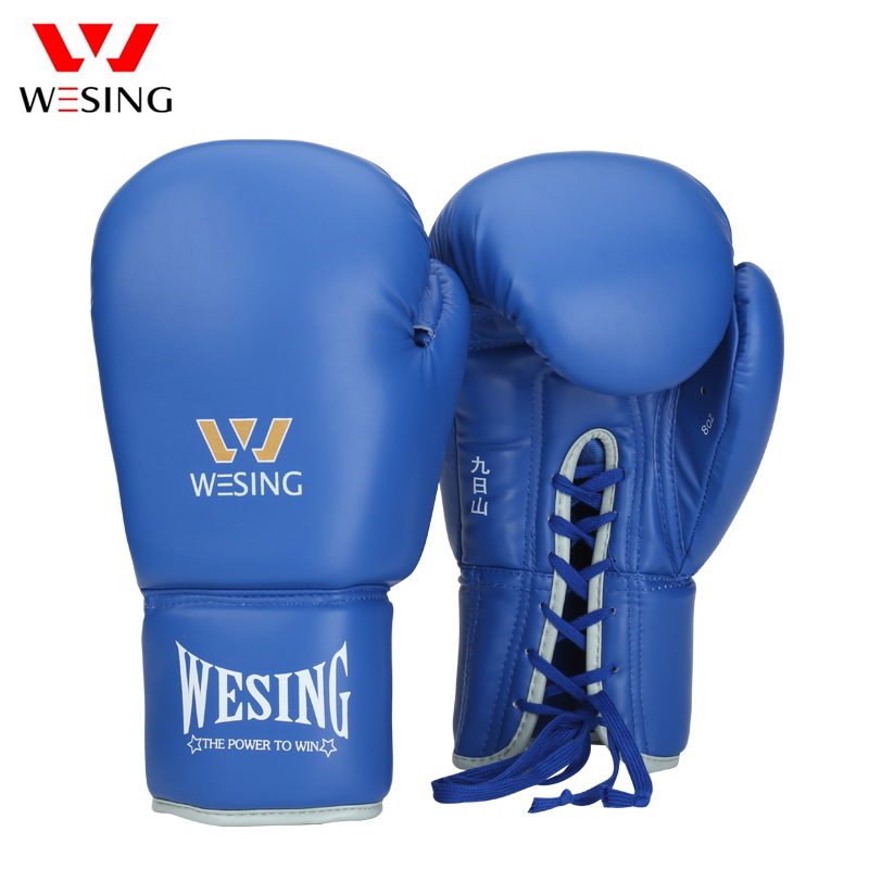 222f44791 WESING Pro Tied Style Boxing Sparring Gloves with Large Size Competition  Lace-Up Leather Training