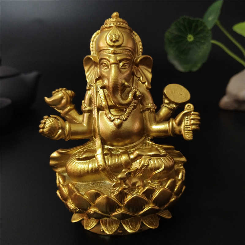 Golden Lord Ganesha Buddha Statue Indian Elephant God Sculpture Ganesh Figurines Ornaments Home Garden Buddha Decoration Statues