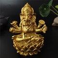 Золотой Властелин Ганеша статуя Будды индийский слон Бог скульптура Ганеш статуэтки украшения домашний сад Будда декоративные статуэтки