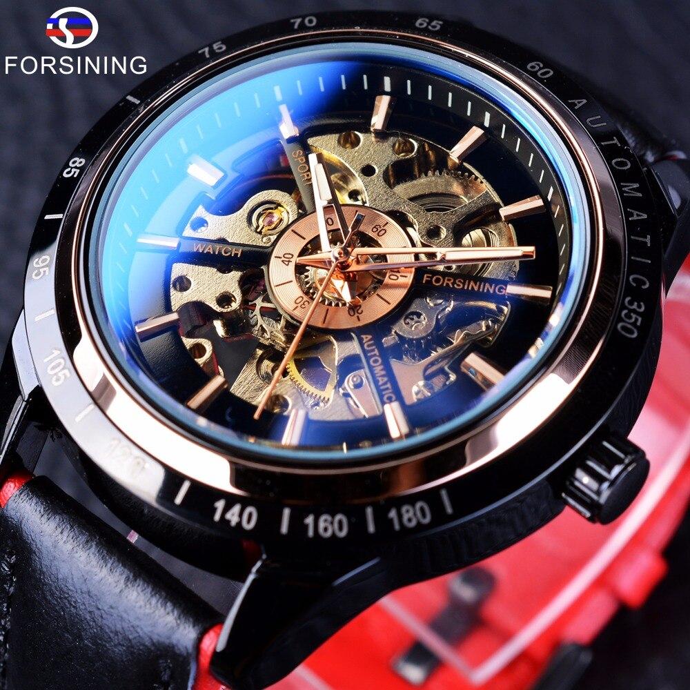 Forsining Motorrad Design Transparent Echtem Rot Schwarz Gürtel Wasserdicht Skeleton Männer Automatische Uhren Top Marke Luxus Uhr