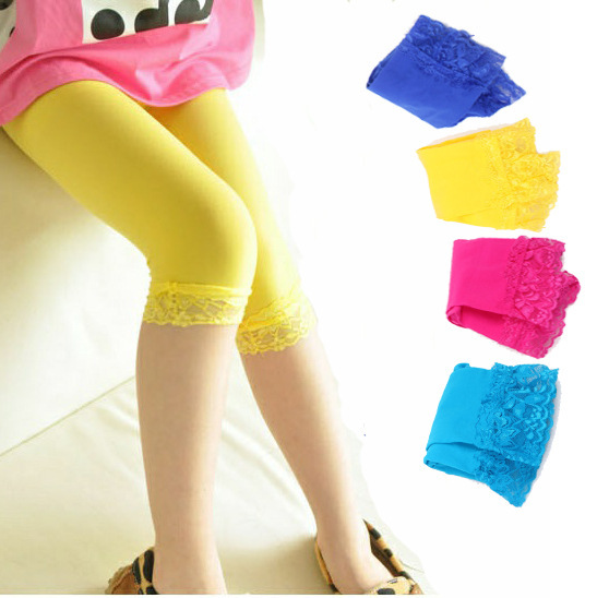Kids Stocking Cropped Tights Lace Chidren Tights For Girls Velvet Lace Side Shorts Pantyhose Spring/summer Candy Colors Infantil