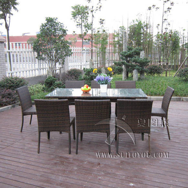 9 Pcs Dark Brown Rattan Garden Dining Sets With Table And 8pcs Armless Chair Transport By