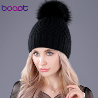 [bopat] dyeing real raccoon fur pompon double-deck soft rabbit knitted hats for women's winter caps female   skullies     beanies   hat