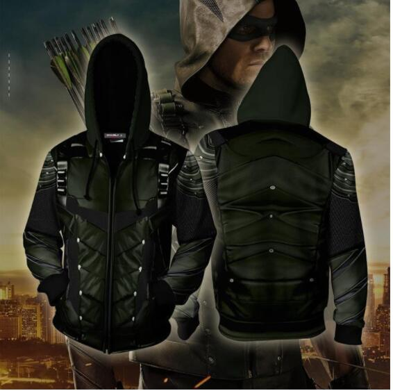 2019 New 3D Hoodies Costume Green Arrow Clothing Oliver QueenZip Up Hoodie 3D Printed Zipper Hoodies Tops
