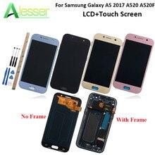 Alesser 삼성 갤럭시 A5 2017 A520 A520F LCD 디스플레이 및 터치 스크린 별도의 프레임 Amoled 화면 교체 + 도구