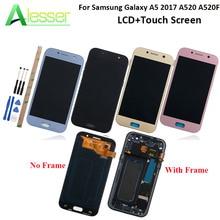 Alesser لسامسونج غالاكسي A5 2017 A520 A520F شاشة الكريستال السائل وشاشة تعمل باللمس مع إطار منفصل Amoled قطع غيار للشاشة + أدوات