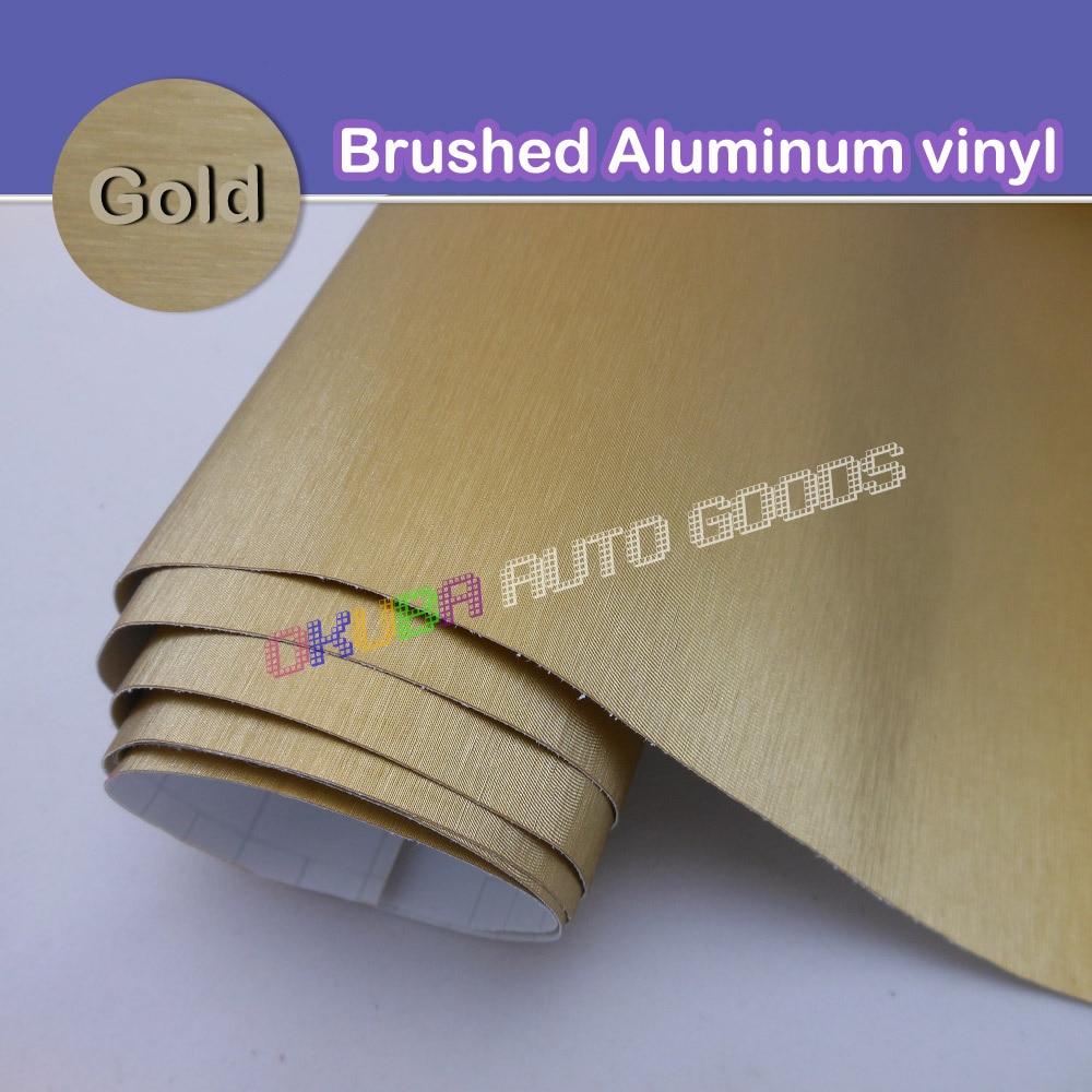 Wholsale FedEx FREE SHIPPING Gold Metallic Brushed Aluminum Vinyl car Wrap Film Size 1 52 30M