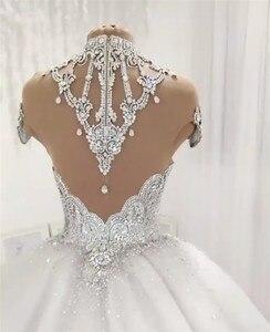 Image 5 - Custom Made Luxe Baljurk Pluizige Glitter Tulle Crystal Kralen Diamant Formele Trouwjurken Bruidsjurken SC12