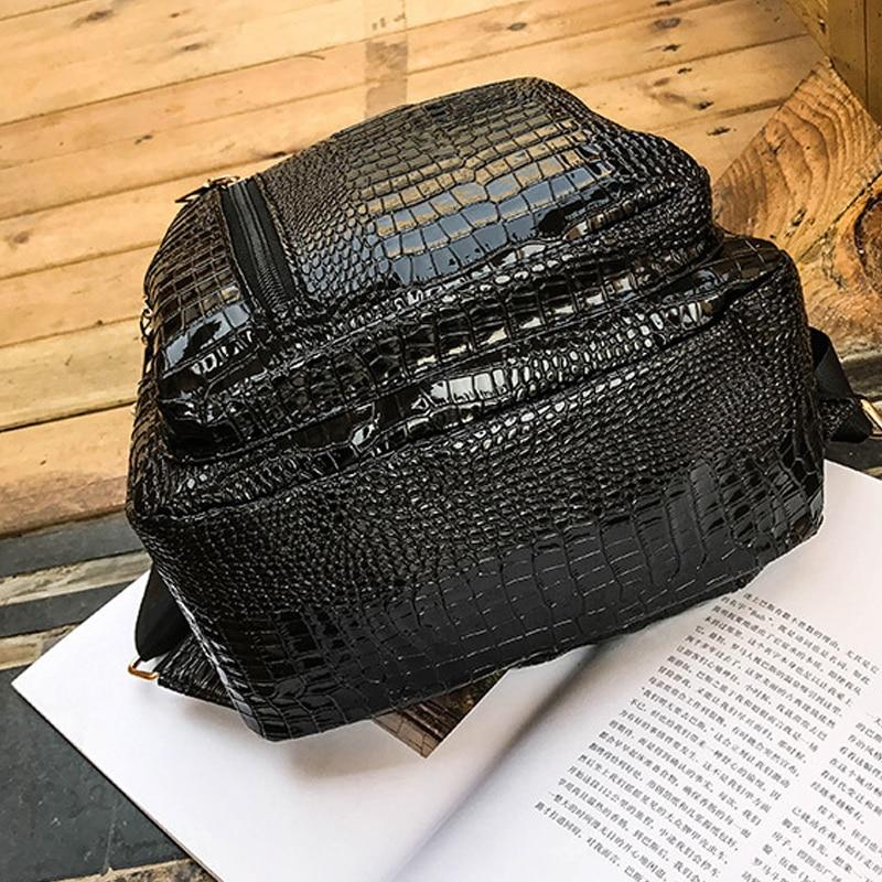 FUN Famous Brand women PU leather backpack fashion Crocodile pattern school backpack female shoulder bag Mochila Feminina