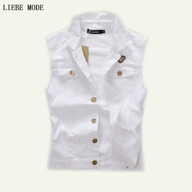 Men's White Denim Vest Men Jeans Sleeveless Jacket Vests With Many ...