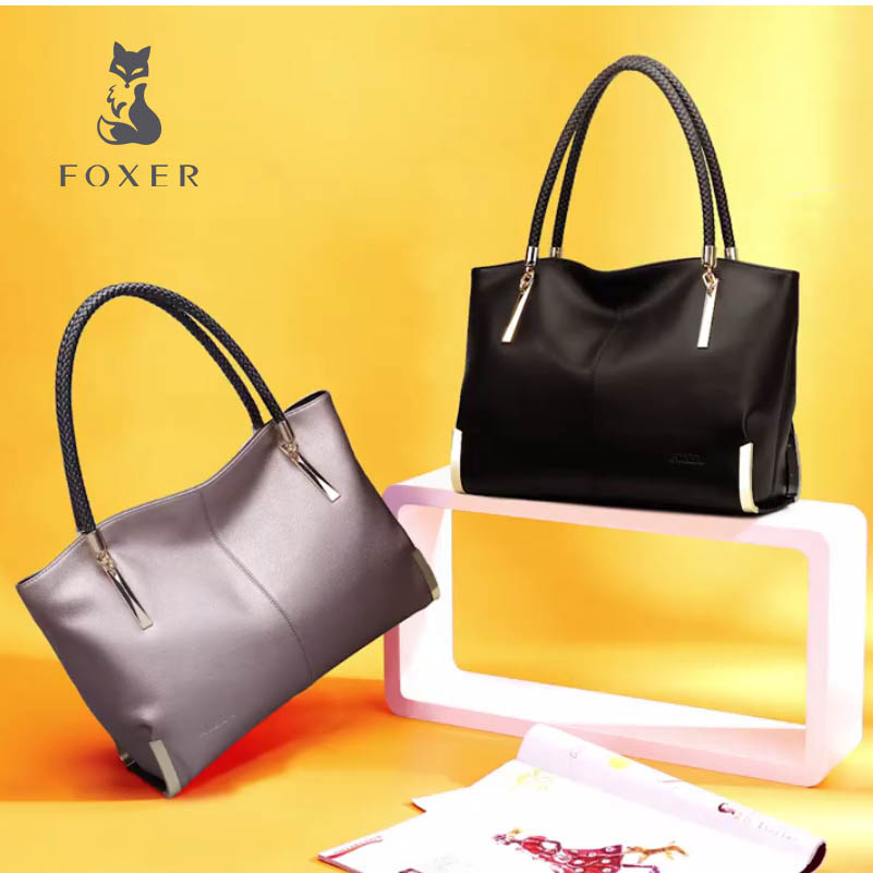FOXER Women Handbags Leather Shoulder Bag Fashion Top-Handle Tote all-matc Women Bags Luxury High Quality Large Capacity Bag instantarts large capacity women handbags high quality lady top handle bag tape print brand design shopping tote shoulder bags